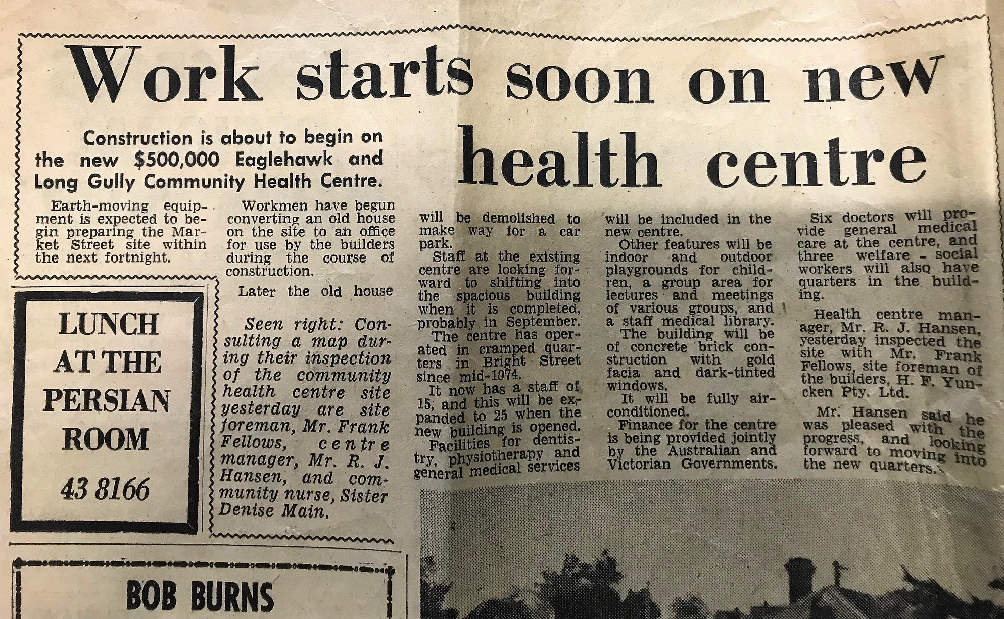 A Bendigo Advertiser story announcing start of construction on the new Eaglehawk Long Gully Community Health Centre.
